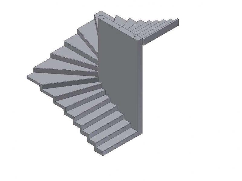 Plan d'escalier balancé à mur porteur